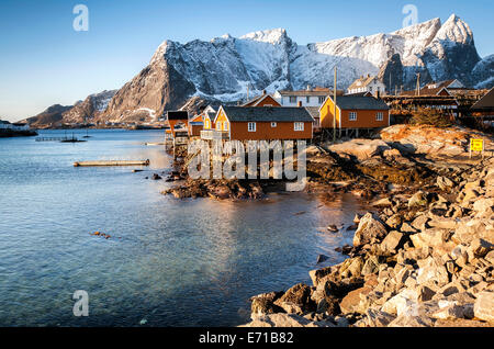 The village of Sakrisoy on a bright winter's day - Stock Photo