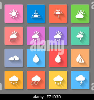Weather Icon Set with sun,clouds,rain and snow using to describe a ...