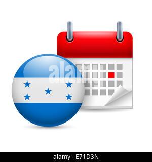 Calendar and round Honduran flag icon. National holiday in Honduras - Stock Photo