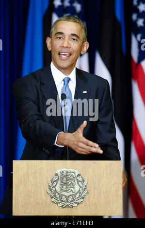 Tallinn, Estonia. 3rd Sep, 2014. U.S. President Barack Obama speaks at a joint press conference with Estonian President - Stock Photo