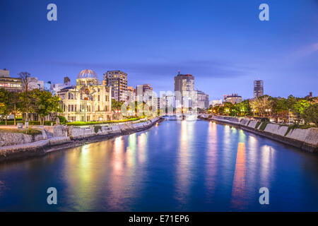 Hiroshima, Japan city skyline on the Otagawa River and Peace Memorial Park. - Stock Photo