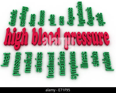 3d image High blood pressure e concept word cloud background - Stock Photo