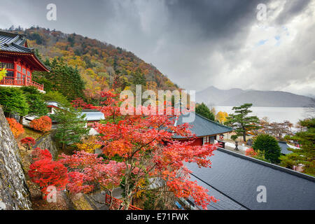 Nikko, Japan viewed in the autumn from Chuzen-ji Temple complex. - Stock Photo