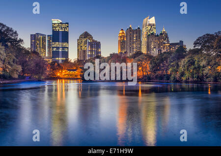 Atlanta, Georgia, USA midtown skyline from Piedmont Park. - Stock Photo