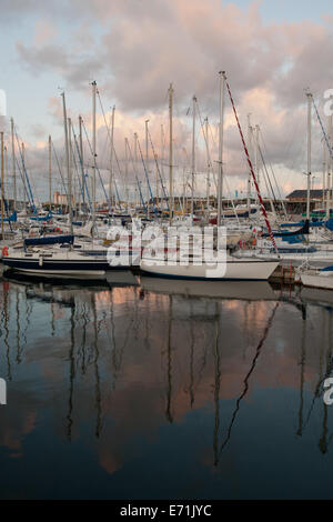 Boats in the marina in the late afternoon, St Malo, Brittany, France - Stock Photo