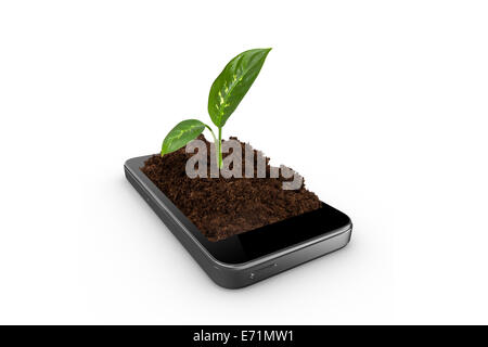 Soil with green plant inside of smart phone, ecology concept, isolated on white background. - Stock Photo