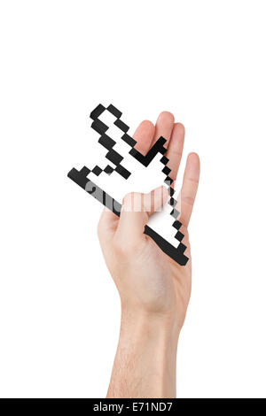 Hand holding computer mouse arrow cursor symbol, isolated on white background. - Stock Photo