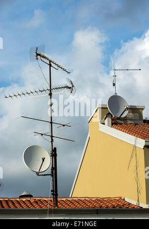 Multiple Aerials on Rooftop - Stock Photo