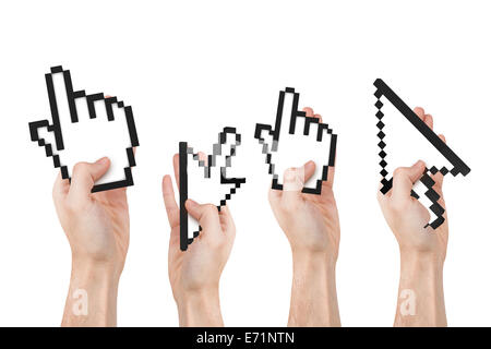 Group Of Hands Holding Computer Mouse Hand Cursor Symbols Isolated