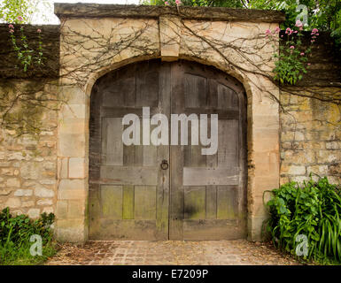 Huge old weathered double wooden doors in high stone wall of historic building surrounded by plants and green foliage - Stock Photo