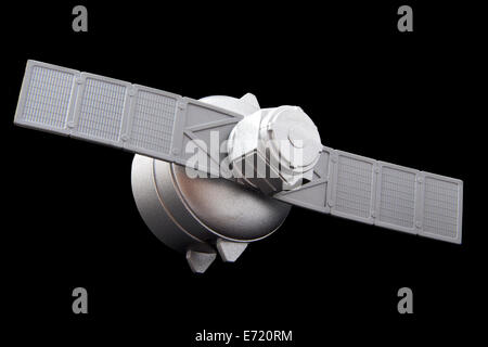 Silver satelite isolated on a black background - Stock Photo