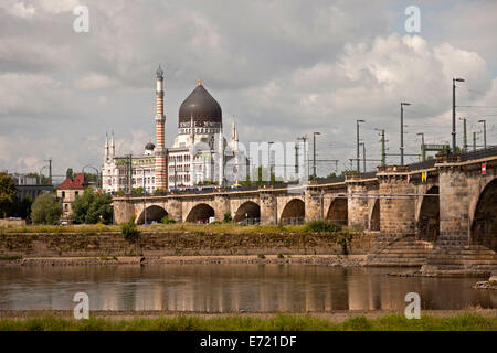 former cigarette factory building Yenidze and river Elbe in Dresden, Saxony, Germany, Europe - Stock Photo