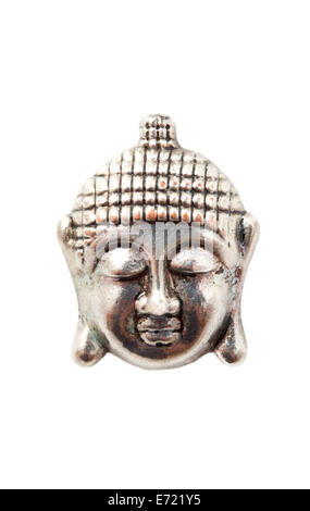 Silver face of budha isolated over white - Stock Photo