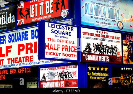 London, England, UK. 'Half Price' theatre ticket booth in Leicester Square - Stock Photo