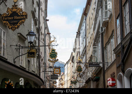 Austria: Getreidegasse, one of the oldest streets at the centre of Salzburg. Photo from 16 May 2009. - Stock Photo