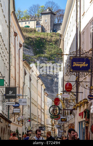 Austria: Getreidegasse, one of the oldest streets at the centre of Salzburg. Photo from 30 March 2014. - Stock Photo