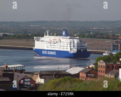 The 31356ton DFDS 'Princess Seaways' entering the river Tyne and sailing to her mooring berth at North Shields Tyneside. - Stock Photo