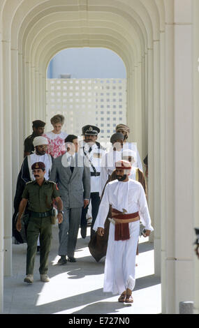 TRH Prince Charles and Princess Diana visit Oman University, Muscat during their Royal tour of Oman 1986 - Stock Photo