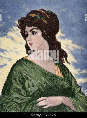 Lucretia (d.510 BC). Wife of Lucius Tarquinius Collatinus. Engraving by Kaesenberg & Oertel. The Illustration, 1884. - Stock Photo