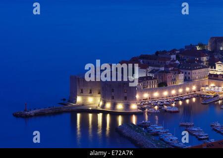 St. John Fortress on the Old Harbour at dusk, historic centre of Dubrovnik, Dalmatia, Croatia - Stock Photo