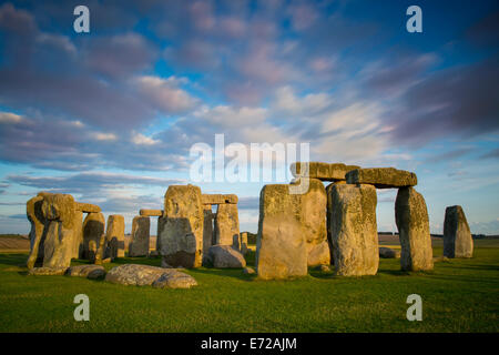 Sunset over Stonehenge, Wiltshire, England - Stock Photo