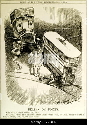 'Beaten on Points' Punch Cartoon Magazine September 1914, advantage of the bus over tram. See description for more - Stock Photo