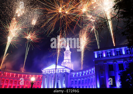 Denver City & County Building and fireworks, Independence Eve Celebration, Denver, Colorado USA - Stock Photo