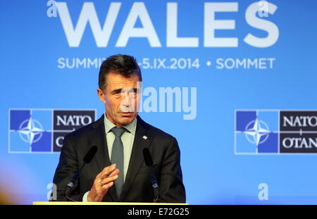 Newport, Wales UK. 4th September, 2014.   Pictured: NATO Secretary-General Anders Fogh Rasmussen giving a press - Stock Photo