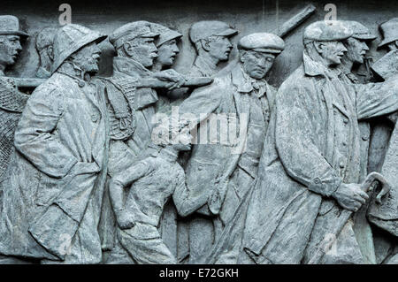 Detail of the Scots American War Memorial frieze in Princes Street Gardens, Edinburgh - Stock Photo