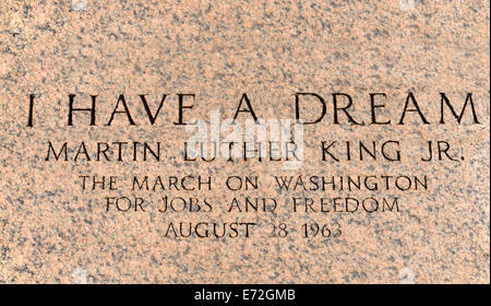 USA, Washington DC, National Mall  Lincoln Memorial  Martin Luther King march engraving in front of the peristyle - Stock Photo