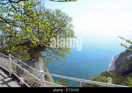 View from chalk cliff 'Königstuhl' - Isle of  Rügen Ruegen Baltic Sea Jasmund - Stock Photo