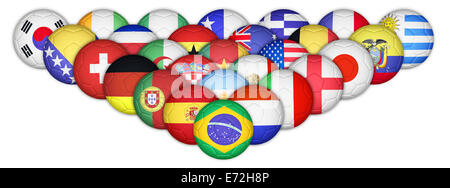 Soccer ball mapping with country flags set - Stock Photo
