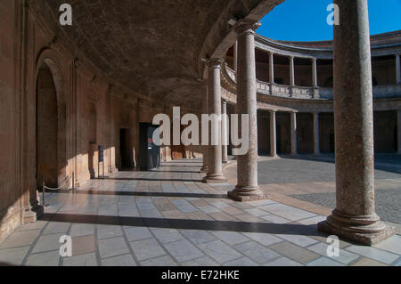 Palace of Charles V -16th century, courtyard, The Alhambra, Granada, Region of Andalusia, Spain, Europe - Stock Photo