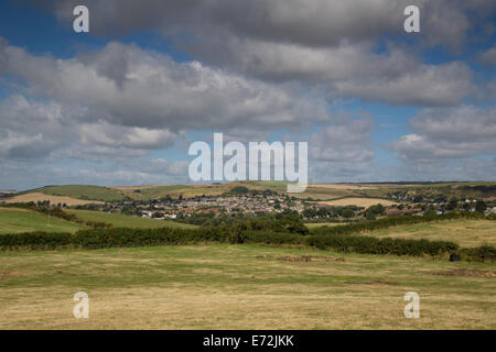 The rolling lush green countryside of Preston near Weymouth, Dorset UK - Stock Photo