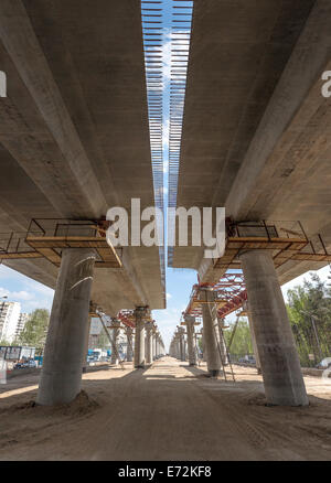 Under flyover construction view in Moscow, Russia - Stock Photo