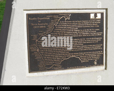 Information plate at Busselton Jetty in Western Australia regarding Baudin Expedition in 1800 - 1804 - Stock Photo
