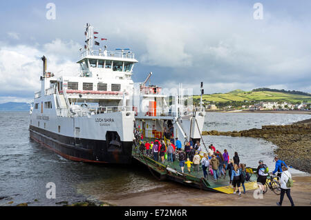 Caledonian MacBrayne car ferry, that sails between the island of Millport and Largs, Ayrshire across the Firth of - Stock Photo