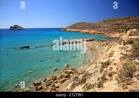 Argilos beach (ideal for mudbaths), Xerokambos, Sitia, Lasithi, Crete island, Greece. - Stock Photo