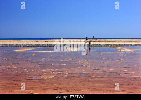 Alatsolimni (means 'Salt lake') beach, Xerokambos, Sitia, Lasithi, Crete, Greece. - Stock Photo