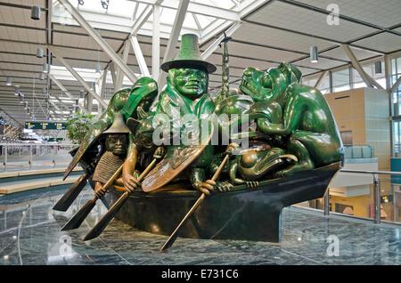 "Beautiful ""The Spirit of Haida Gwaii:  The Jade Canoe"" by indigenous sculptor Bill Reid, at Vancouver International - Stock Photo"