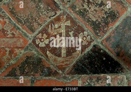 Medieval floor tiles, St. Mary`s Church, Chastleton, Oxfordshire, England, UK - Stock Photo