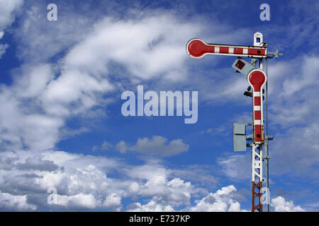 traffic train sign on blue sky  with cloud - Stock Photo