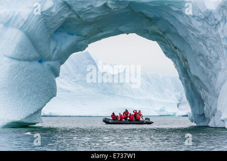 Lindblad guests from the National Geographic Explorer on a Zodiac cruise in Cierva Cove, Antarctica, Polar Regions - Stock Photo