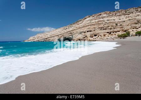 Matala Bay and Beach, Heraklion District, Crete, Greek Islands, Greece, Europe - Stock Photo