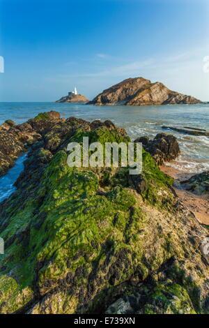 Mumbles Lighthouse, Bracelet Bay, Gower, Swansea, Wales, United Kingdom, Europe - Stock Photo