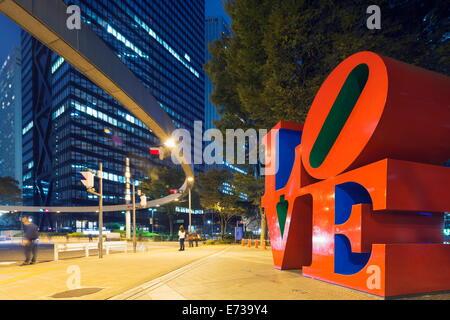Love sculpture by Robert Indiana, Shinjuku, Tokyo, Honshu, Japan, Asia - Stock Photo
