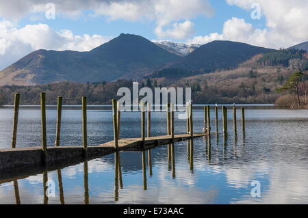 Lake Derwentwater, Barrow and Causey Pike, North Lakeland, Lake District National Park, Keswick, Cumbria, England - Stock Photo