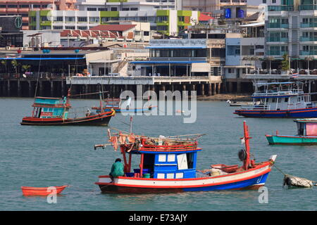 Fishing boats in Pattaya City, Thailand, Southeast Asia, Asia - Stock Photo