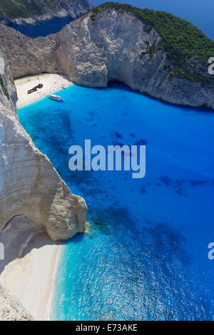 Navagio Beach and shipwreck at Smugglers Cove on the coast of Zakynthos, Ionian Islands, Greek Islands, Greece, - Stock Photo