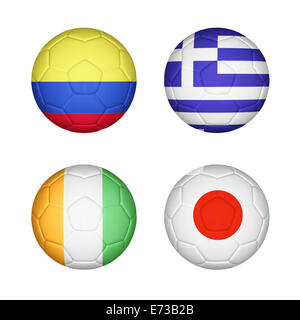 Soccer ball mapping with 4 country flags set - Stock Photo
